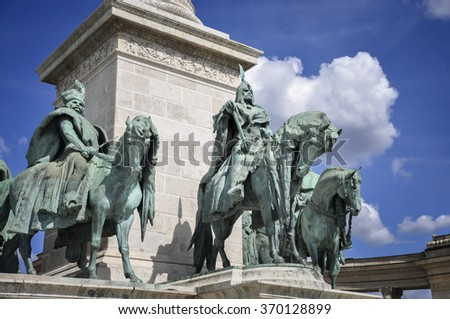 Heroes square in Budapest, a square dedicated to the hungarian kings - stock photo