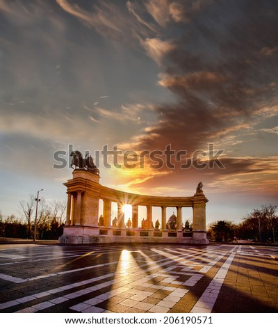 Heroes Square in Budapest against sunrise, Hungary - stock photo