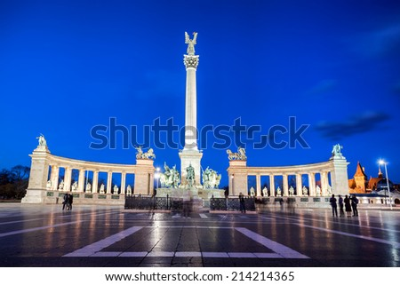 Heroes Square in Budapest with monument in the evening, Hungary