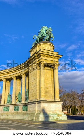 Heroes square, Man with a snake on chariot (symbol of war), Budapest, Hungary - stock photo