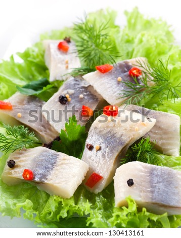 herring fillet with herbs and spice - stock photo