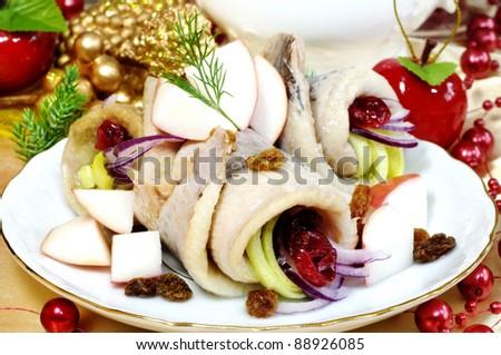 herring on christmas table - stock photo