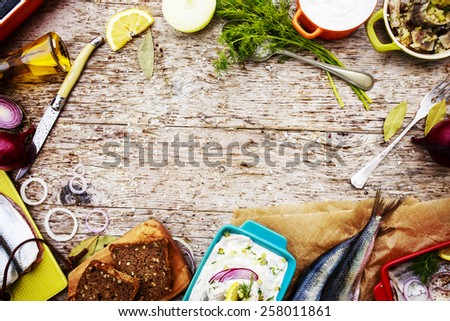 Herring - salad with cream, onion, dill-preparation background  - stock photo