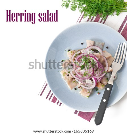 Herring salad with onion - stock photo