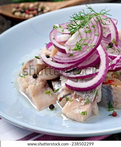 Herring salad with onion and dill - stock photo