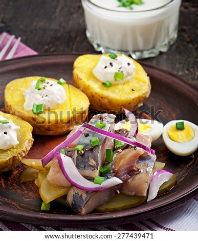 Herring salad with onions and baked potato - stock photo