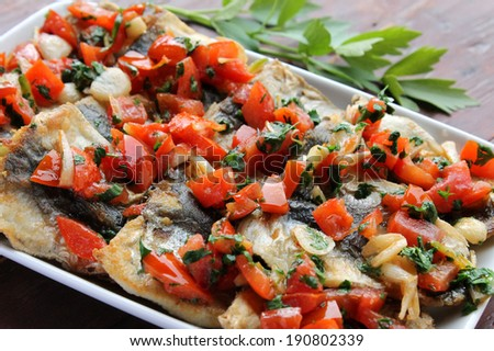 Herring with vegetables - stock photo