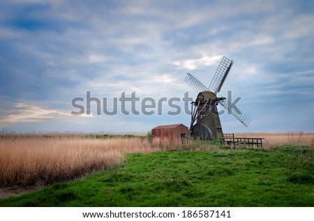 Herringfleet Mill in Suffolk, England. - stock photo