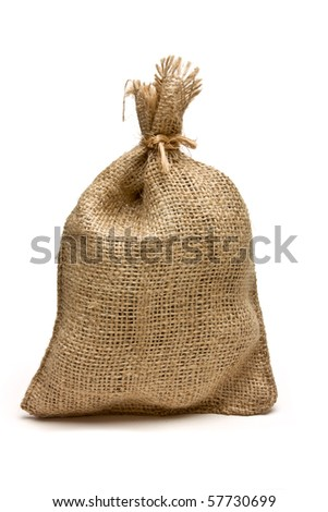 Hessian sack tied with string from low perspective isolated against white background. - stock photo