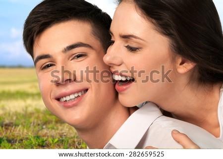 Heterosexual Couple, Love, Cheerful. - stock photo