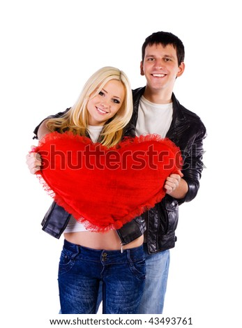 Heterosexual couple with a big heart on white background