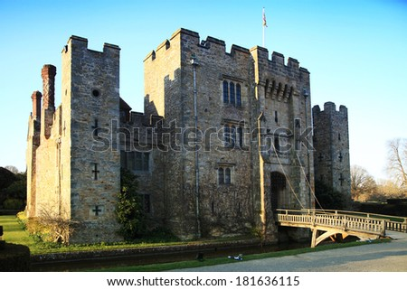 HEVER CASTLE AND GARDENS, KENT,  UK - MARCH 10, 2014: 13th century castle with Tudor manor house and 250 acre of park.  - stock photo
