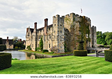 Hever Castle on sunny summer day. UK - stock photo
