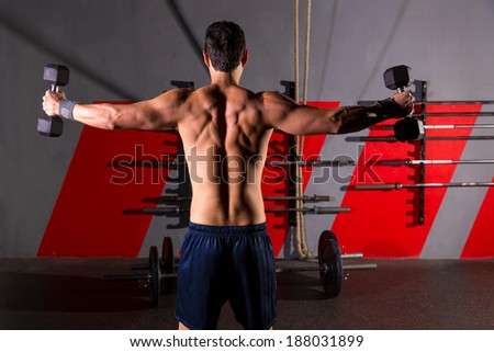 hex dumbbells man workout rear view back exercise at gym box - stock photo