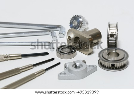 hex wrench and screw driver with mechanical parts