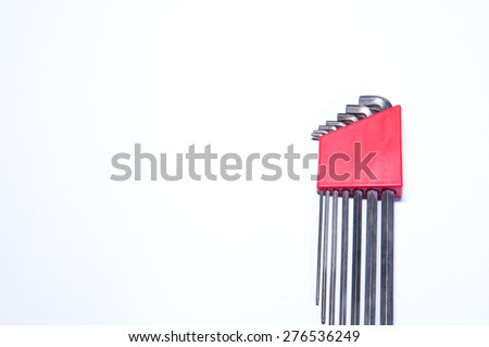 Hex wrench tool white background stainless - stock photo