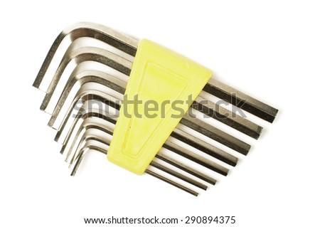 Hexagon allen wrench set isolated on white background - stock photo