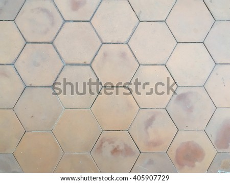 Hexagon brick floor texture background - stock photo
