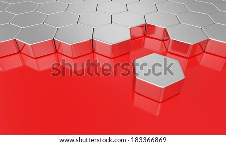 hexagon building blocks chrome on red - stock photo