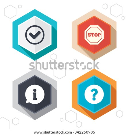 Hexagon buttons. Information icons. Stop prohibition and question FAQ mark signs. Approved check mark symbol. Labels with shadow.  - stock photo