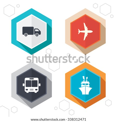 Hexagon buttons. Transport icons. Truck, Airplane, Public bus and Ship signs. Shipping delivery symbol. Air mail delivery sign. Labels with shadow.