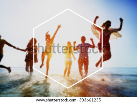Hexagon Frame Holiday Summer Vacation Copy Space Concept