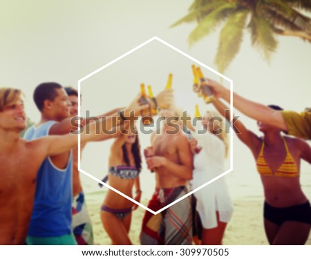 Hexagon Frame Holiday Summer Vacation Copy Space Concept - stock photo