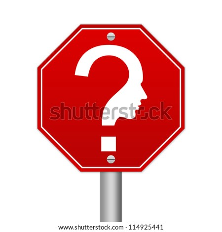 Hexagon Red Traffic Sign For Question and Confusion Sign Isolated on White Background - stock photo