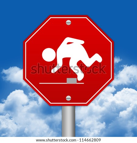 Hexagon Red Traffic Sign For Watch Your Step Against The Blue Sky Background - stock photo