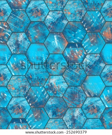 Hexagonal Blue Grungy Metal Tiled Seamless Texture - stock photo