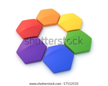 Hexagonal color wheel - stock photo