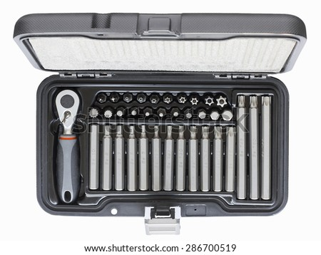 Hexagonal screwdriver set with ratchet isolated on a white background - stock photo