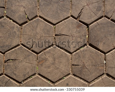 Hexagonal wooden floor tiles - stock photo