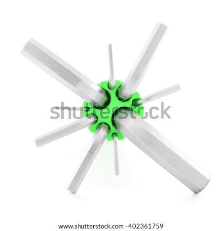 Hexagonal wrench, steel tool for industry, isolated, on white background
