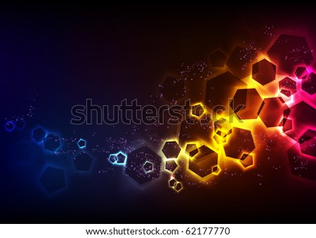 Hexagons Glowing in the Dark - stock photo