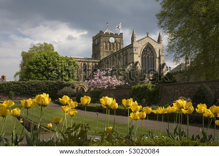 Hexham Abbey stands in the busy market town in Northumberland - stock photo