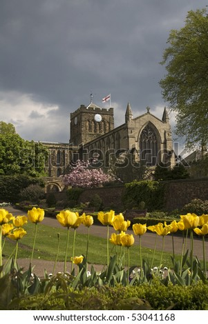 Hexham Abbey was founded c.674 by St Wilfrid. It was built at the heart of the area of land given to St Wilfrid by Queen Etheldreda. - stock photo