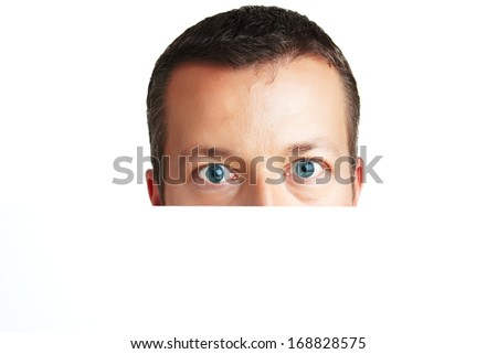 Hey its me - Portrait of a young man - looking straight into cam - lots of copyspace and room for text on this isolate - stock photo