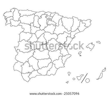 hi detailed map of spain - stock photo