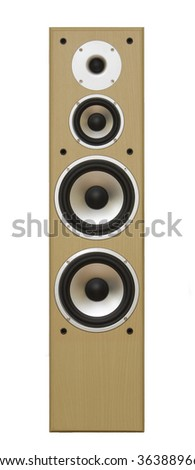 Hi end speakers isolated on white, clipping path - stock photo