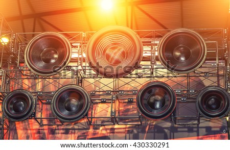 Hi fi audio stereo system sound speakers background. - stock photo