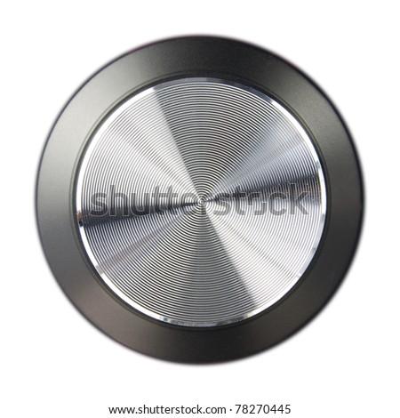 hi-fi speaker volume dial isolated on a white background - stock photo