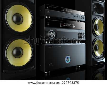 Hi-Fi stereo system musical player, power receiver, yellow speakers, multimedia center - stock photo