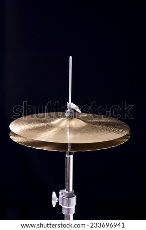 Hi Hat Cymabal on a black background - stock photo