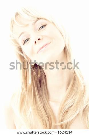 hi-key image of smiling blond - stock photo