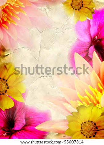 hi-res abstract grunge background with floral pattern - stock photo