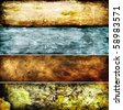 hi-res abstract grunge banners set, raster artwork - stock photo