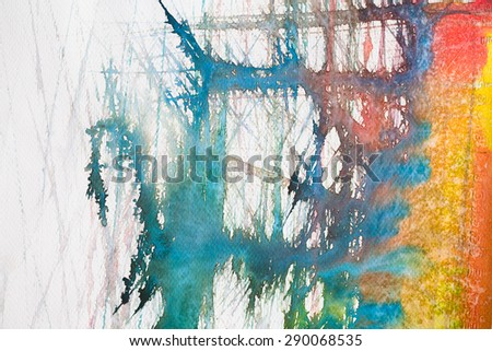 hi-res close up water color painting on watercolor paper texture using for background - stock photo