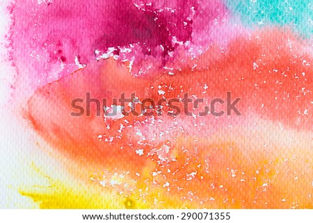 hi-res close up water color painting on watercolor paper texture using for background