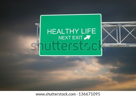 Hi-res 3D highway road sign with real cloudscape at dusk. - stock photo